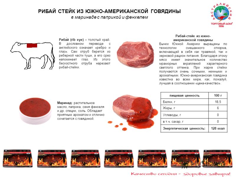 Рибай-стейк из южно- американской говядины Бычки Южной Америки выращены по технологии смешанного откорма, включающей в себя как травяной, так и зерновой рацион питания. Благодаря этому мясо имеет значительное количество мраморных вкраплений характерн