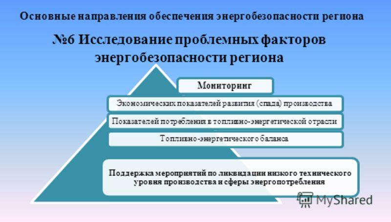 Основные направления обеспечения энергобезопасности региона 6 Исследование проблемных факторов энергобезопасности региона Мониторинг Экономических показателей развития (спада) производстваПоказателей потребления в топливно-энергетической отраслиТопли