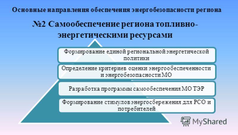 Основные направления обеспечения энергобезопасности региона 2 Самообеспечение региона топливно- энергетическими ресурсами Формирование единой региональной энергетической политики Определение критериев оценки энергообеспеченности и энергобезопасности