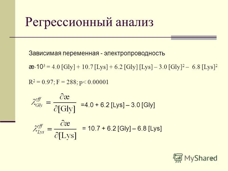 21 Регрессионный анализ Зависимая переменная - электропроводность æ 10 3 = 4.0 [Gly] + 10.7 [Lys] + 6.2 [Gly] [Lys] – 3.0 [Gly] 2 – 6.8 [Lys] 2 R 2 = 0.97; F = 288; p< 0.00001 =4.0 + 6.2 [Lys] – 3.0 [Gly] = 10.7 + 6.2 [Gly] – 6.8 [Lys]