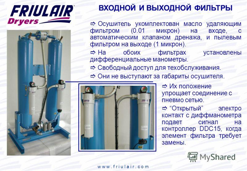 w w w. f r i u l a i r. c o m ВХОДНОЙ И ВЫХОДНОЙ ФИЛЬТРЫ Осушитель укомплектован масло удаляющим фильтром (0.01 микрон) на входе, с автоматическим клапаном дренажа, и пылевым фильтром на выходе (1 микрон). На обоих фильтрах установлены дифференциальн