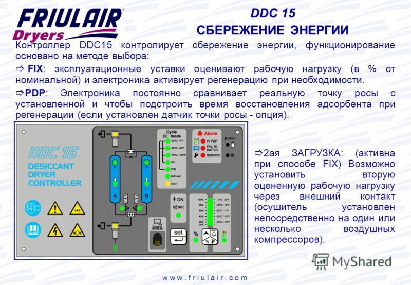 w w w. f r i u l a i r. c o m DDC 15 СБЕРЕЖЕНИЕ ЭНЕРГИИ 2ая ЗАГРУЗКА: (активна при способе FIX) Возможно установить вторую оцененную рабочую нагрузку через внешний контакт (осушитель установлен непосредственно на один или несколько воздушных компресс