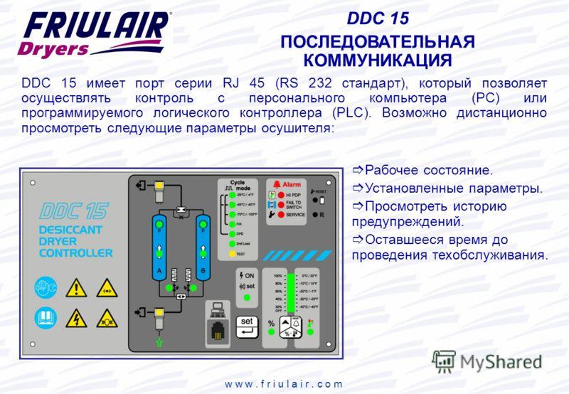 w w w. f r i u l a i r. c o m DDC 15 ПОСЛЕДОВАТЕЛЬНАЯ КОММУНИКАЦИЯ Рабочее состояние. Установленные параметры. Просмотреть историю предупреждений. Оставшееся время до проведения техобслуживания. DDC 15 имеет порт серии RJ 45 (RS 232 стандарт), которы