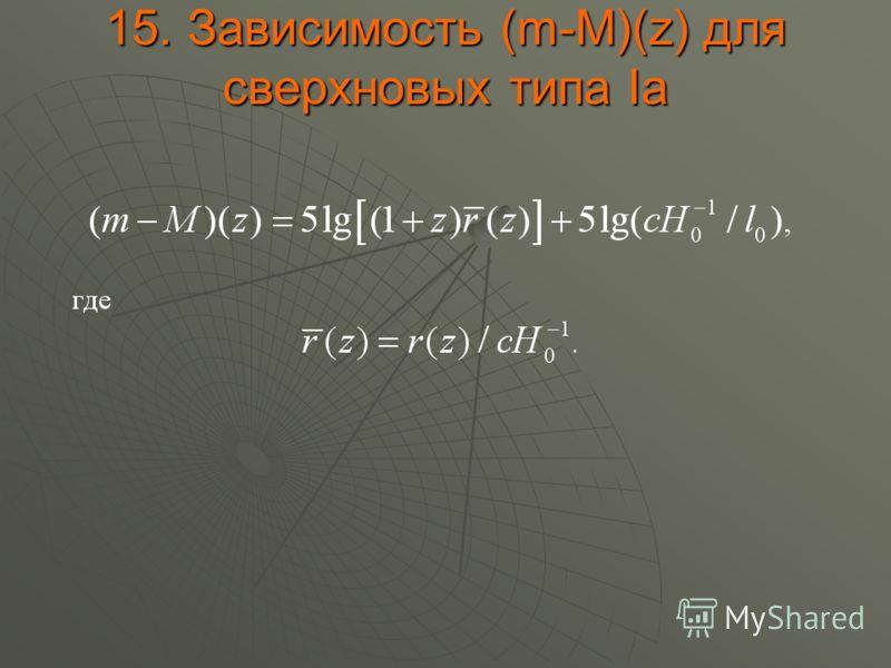 15. Зависимость (m-M)(z) для сверхновых типа Ia
