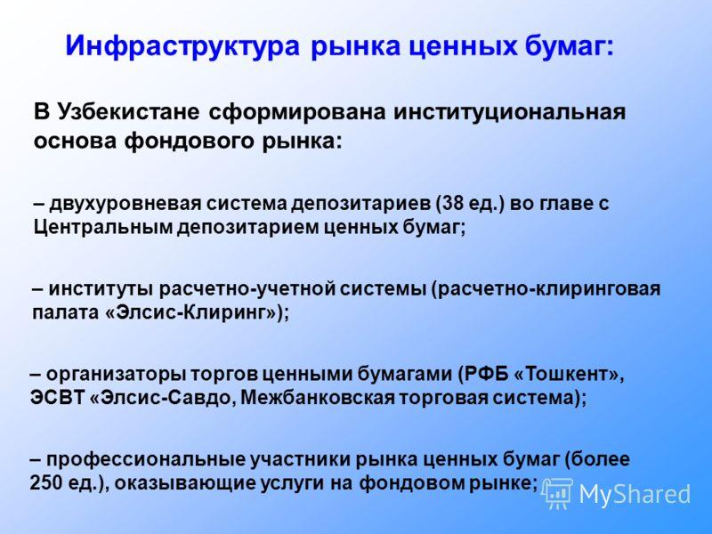 Инфраструктура рынка ценных бумаг: В Узбекистане сформирована институциональная основа фондового рынка: – двухуровневая система депозитариев (38 ед.) во главе с Центральным депозитарием ценных бумаг; – институты расчетно-учетной системы (расчетно-кли