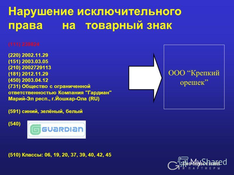 Нарушение исключительного права на товарный знак (111) 239824 (220) 2002.11.29 (151) 2003.03.05 (210) 2002729113 (181) 2012.11.29 (450) 2003.04.12 (731) Общество с ограниченной ответственностью Компания