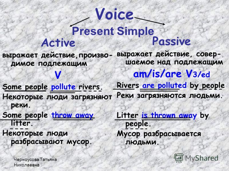 Черноусова Татьяна Николаевна Present Simple Past Simple Future Simple Настоящее простое Прошедшее простое Будущее простое V Vs/es Ved/2 will V