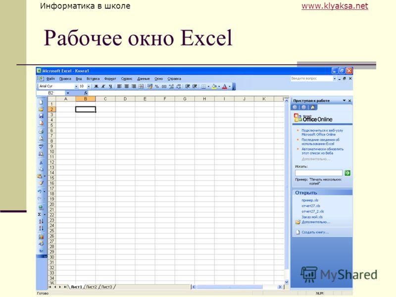 Информатика в школе www.klyaksa.netwww.klyaksa.net Рабочее окно Excel