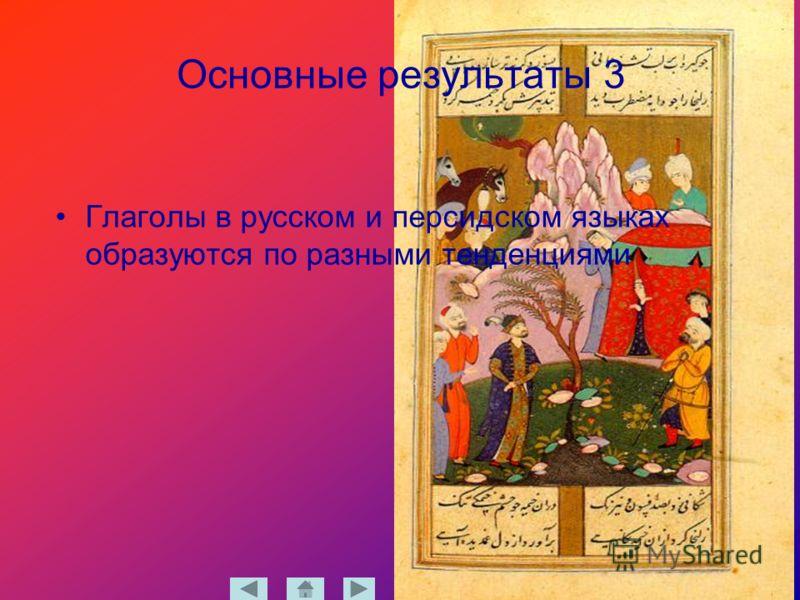 Основные результаты 3 Глаголы в русском и персидском языках образуются по разными тенденциями