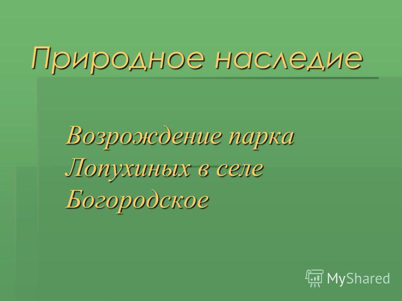 Природное наследие Возрождение парка Лопухиных в селе Богородское