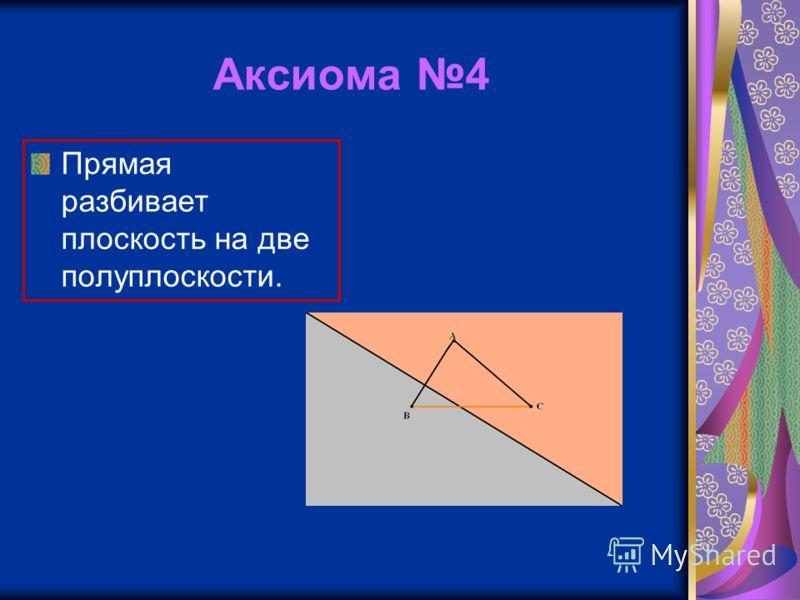 Аксиома 4 Прямая разбивает плоскость на две полуплоскости.