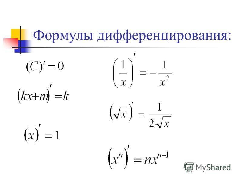 Формулы дифференцирования: