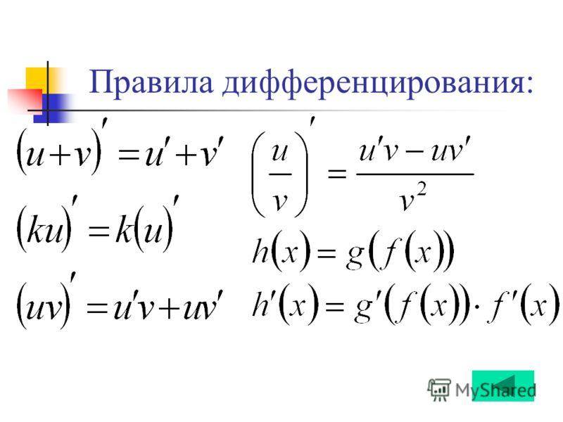 Правила дифференцирования: