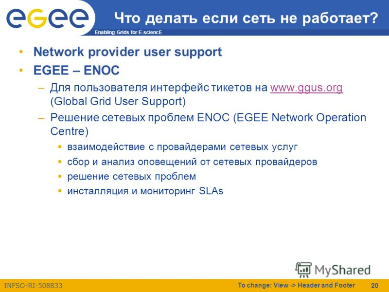 Enabling Grids for E-sciencE INFSO-RI-508833 To change: View -> Header and Footer 20 Что делать если сеть не работает? Network provider user support EGEE – ENOC –Для пользователя интерфейс тикетов на www.ggus.org (Global Grid User Support)www.ggus.or