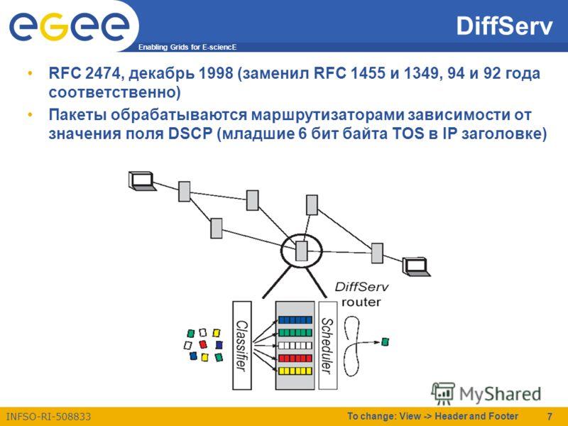 Enabling Grids for E-sciencE INFSO-RI-508833 To change: View -> Header and Footer 7 DiffServ RFC 2474, декабрь 1998 (заменил RFC 1455 и 1349, 94 и 92 года соответственно) Пакеты обрабатываются маршрутизаторами зависимости от значения поля DSCP (младш