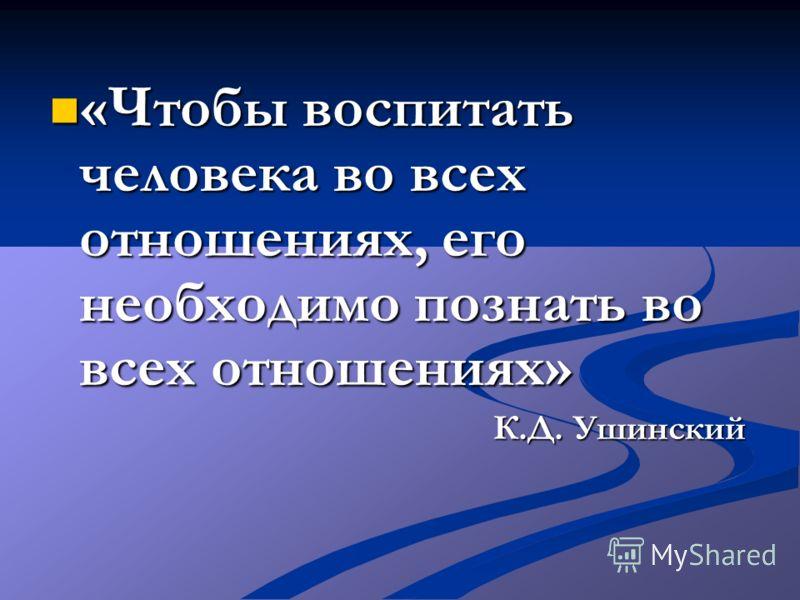 «Чтобы воспитать человека во всех отношениях, его необходимо познать во всех отношениях» «Чтобы воспитать человека во всех отношениях, его необходимо познать во всех отношениях» К.Д. Ушинский К.Д. Ушинский