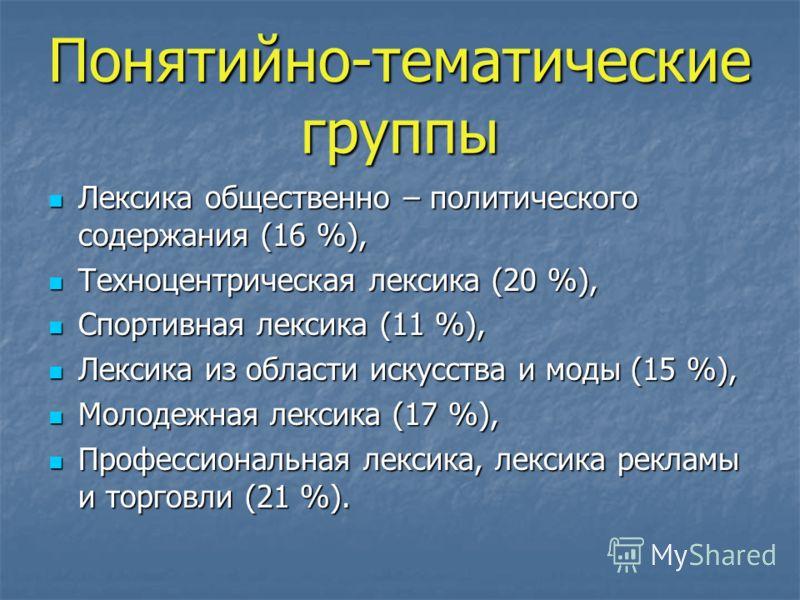 Понятийно-тематические группы Лексика общественно – политического содержания (16 %), Лексика общественно – политического содержания (16 %), Техноцентрическая лексика (20 %), Техноцентрическая лексика (20 %), Спортивная лексика (11 %), Спортивная лекс