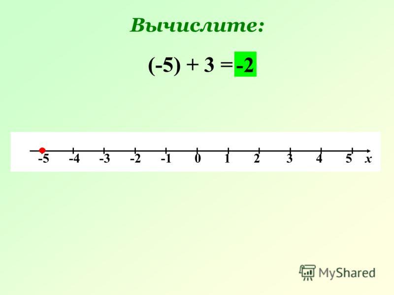 Вычислите: -5 -4 -3 -2 -1 0 1 2 3 4 5 х (-5) + 3 = -2
