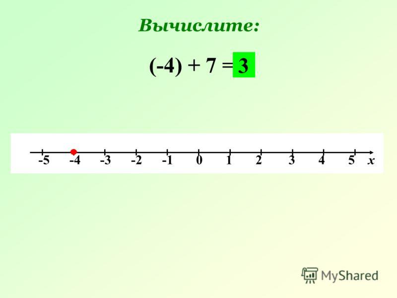 -5 -4 -3 -2 -1 0 1 2 3 4 5 х (-4) + 7 = 3 Вычислите:
