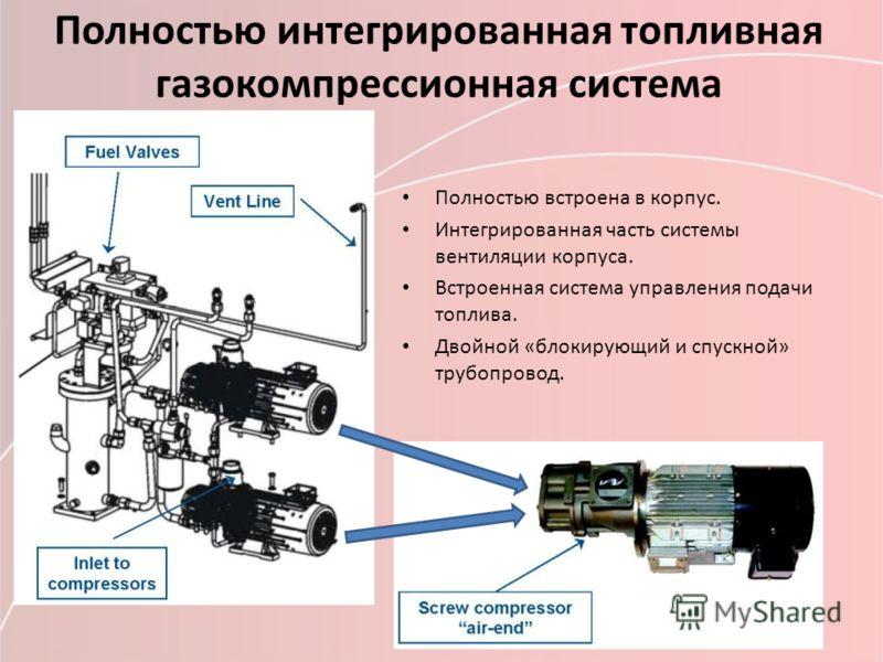 Полностью интегрированная топливная газокомпрессионная система Полностью встроена в корпус. Интегрированная часть системы вентиляции корпуса. Встроенная система управления подачи топлива. Двойной «блокирующий и спускной» трубопровод.