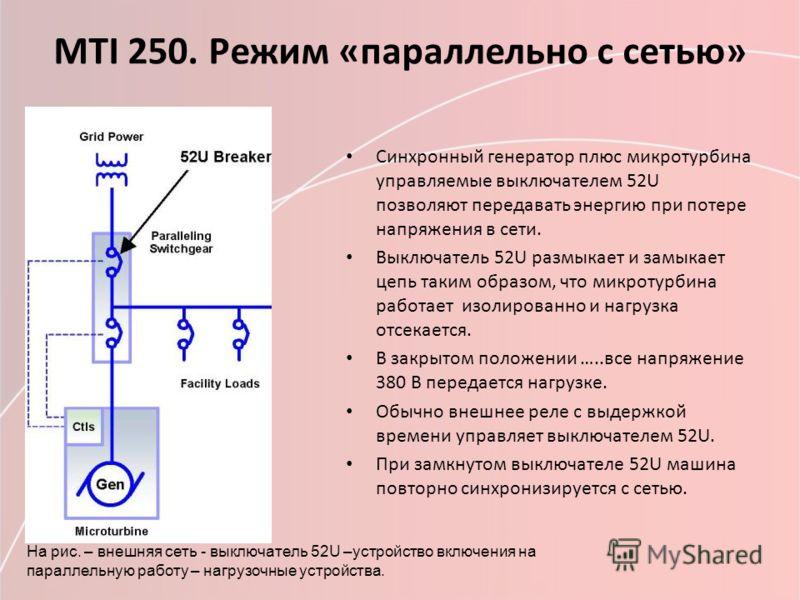 МТI 250. Режим «параллельно с сетью» Синхронный генератор плюс микротурбина управляемые выключателем 52U позволяют передавать энергию при потере напряжения в сети. Выключатель 52U размыкает и замыкает цепь таким образом, что микротурбина работает изо