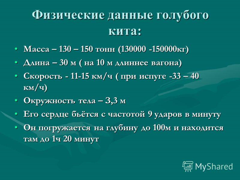 Физические данные голубого кита: Масса – 130 – 150 тонн (130000 -150000кг)Масса – 130 – 150 тонн (130000 -150000кг) Длина – 30 м ( на 10 м длиннее вагона)Длина – 30 м ( на 10 м длиннее вагона) Скорость - 11-15 км/ч ( при испуге -33 – 40 км/ч)Скорость