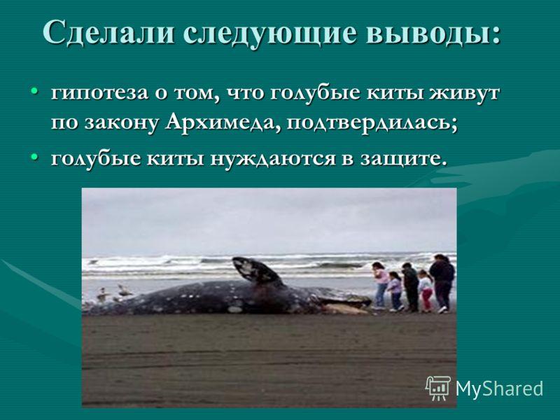 Сделали следующие выводы: гипотеза о том, что голубые киты живут по закону Архимеда, подтвердилась;гипотеза о том, что голубые киты живут по закону Архимеда, подтвердилась; голубые киты нуждаются в защите.голубые киты нуждаются в защите.