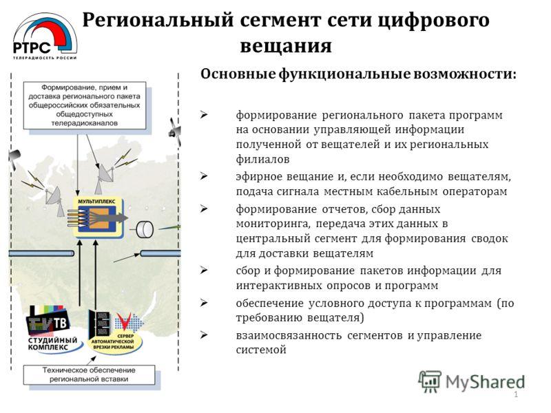 Региональный сегмент сети цифрового вещания 1 Основные функциональные возможности: формирование регионального пакета программ на основании управляющей информации полученной от вещателей и их региональных филиалов эфирное вещание и, если необходимо ве