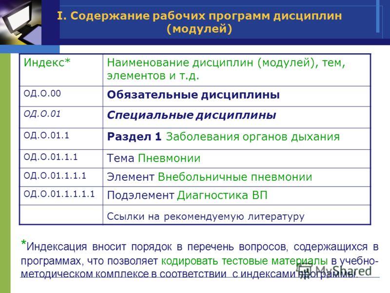 I. Содержание рабочих программ дисциплин (модулей) Индекс*Наименование дисциплин (модулей), тем, элементов и т.д. ОД.О.00 Обязательные дисциплины ОД.О.01 Специальные дисциплины ОД.О.01.1 Раздел 1 Заболевания органов дыхания ОД.О.01.1.1 Тема Пневмонии
