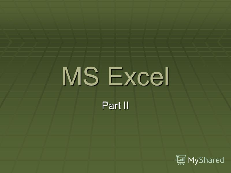 MS Excel Part II
