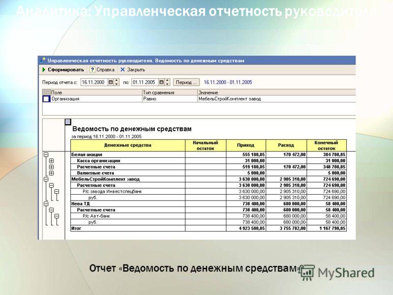 Аналитика: Управленческая отчетность руководителя Отчет «Ведомость по денежным средствам»