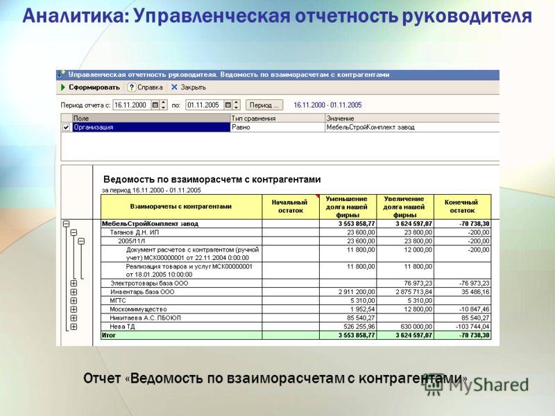 Аналитика: Управленческая отчетность руководителя Отчет «Ведомость по взаиморасчетам с контрагентами»