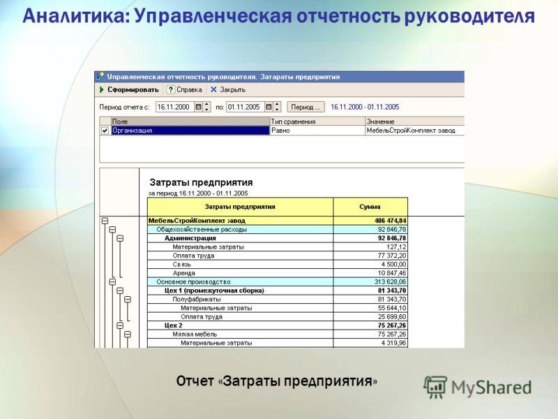 Аналитика: Управленческая отчетность руководителя Отчет «Затраты предприятия»