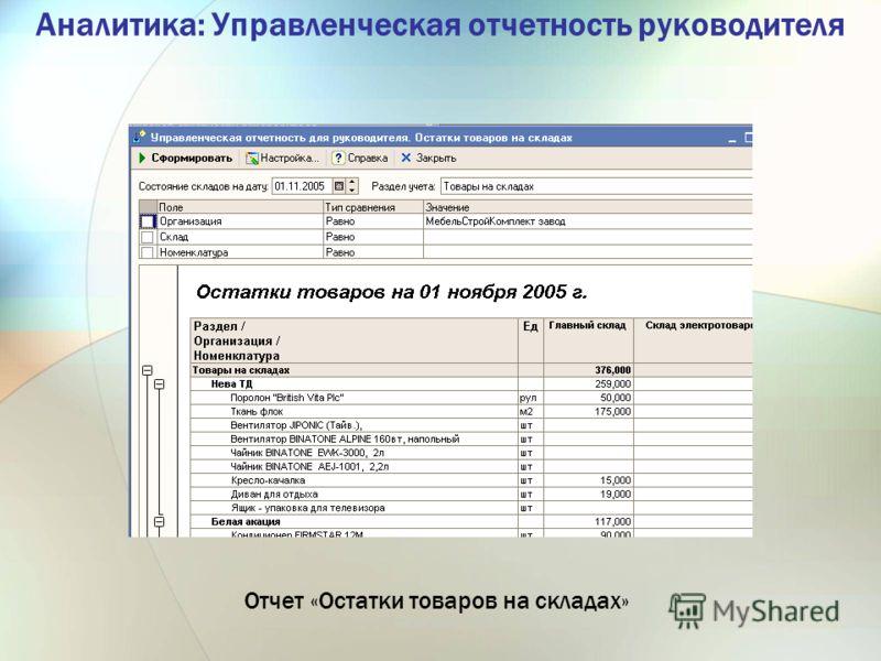 Аналитика: Управленческая отчетность руководителя Отчет «Остатки товаров на складах»