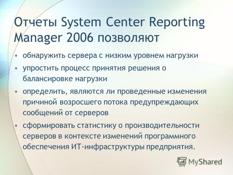 Отчеты System Center Reporting Manager 2006 позволяют обнаружить сервера с низким уровнем нагрузки упростить процесс принятия решения о балансировке нагрузки определить, являются ли проведенные изменения причиной возросшего потока предупреждающих соо