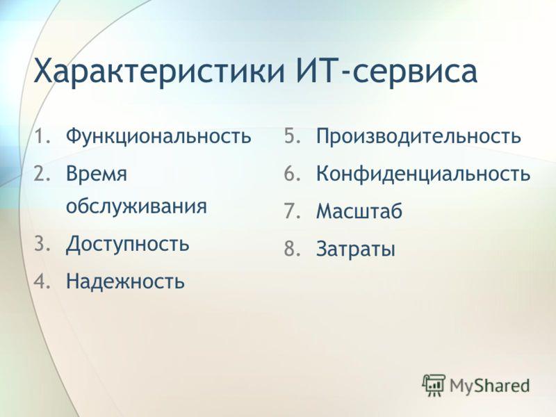 Характеристики ИТ-сервиса 1.Функциональность 2.Время обслуживания 3.Доступность 4.Надежность 5.Производительность 6.Конфиденциальность 7.Масштаб 8.Затраты