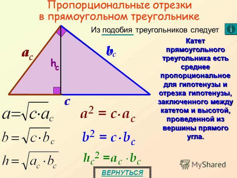 Пропорциональные отрезки в прямоугольном треугольнике ВЕРНУТЬСЯ Катет прямоугольного треугольника есть среднее пропорциональное для гипотенузы и отрезка гипотенузы, заключенного между катетом и высотой, проведенной из вершины прямого угла. Из подобия