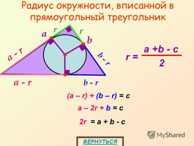 Радиус окружности, вписанной в прямоугольный треугольник rr b - r b a a - r (a – r) + (b – r) = с a – 2r + b = с 2r = а + b - с ВЕРНУТЬСЯ r = a +b - c 2