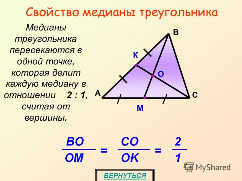 Свойство медианы треугольника ВЕРНУТЬСЯ Медианы треугольника пересекаются в одной точке, которая делит каждую медиану в отношении 2 : 1, считая от вершины. M А С В О К