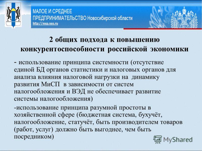 2 общих подхода к повышению конкурентоспособности российской экономики - использование принципа системности (отсутствие единой БД органов статистики и налоговых органов для анализа влияния налоговой нагрузки на динамику развития МиСП в зависимости от