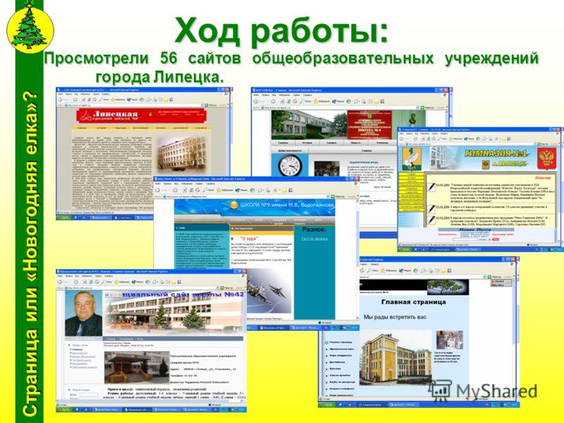 Страница или «Новогодняя елка»? Ход работы: Просмотрели 56 сайтов общеобразовательных учреждений города Липецка.