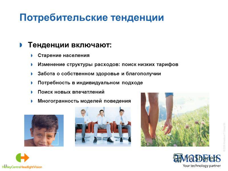 © 2006 Amadeus IT Group SA 11 Потребительские тенденции Тенденции включают: Старение населения Изменение структуры расходов: поиск низких тарифов Забота о собственном здоровье и благополучии Потребность в индивидуальном подходе Поиск новых впечатлени