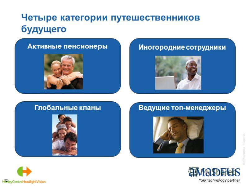 © 2006 Amadeus IT Group SA 12 Четыре категории путешественников будущего Активные пенсионеры Глобальные кланы Иногородние сотрудники Ведущие топ-менеджеры