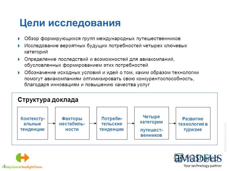 © 2006 Amadeus IT Group SA 5 Цели исследования Обзор формирующихся групп международных путешественников Исследование вероятных будущих потребностей четырех ключевых категорий Определение последствий и возможностей для авиакомпаний, обусловленных форм