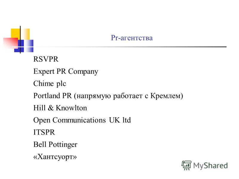 Pr-агентства RSVPR Expert PR Company Chime plc Portland PR (напрямую работает с Кремлем) Hill & Knowlton Open Communications UK ltd ITSPR Bell Pottinger «Хантсуорт»