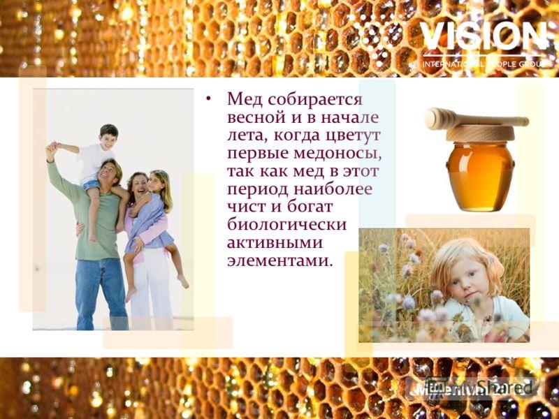 Мед собирается весной и в начале лета, когда цветут первые медоносы, так как мед в этот период наиболее чист и богат биологически активными элементами. Millenium 2010