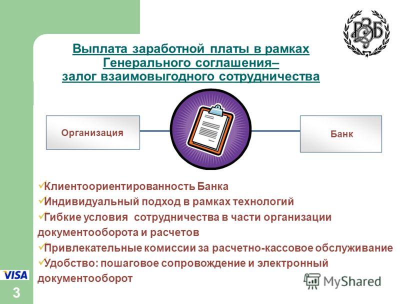 3 Выплата заработной платы в рамках Генерального соглашения– залог взаимовыгодного сотрудничества Организация Банк Клиентоориентированность Банка Индивидуальный подход в рамках технологий Гибкие условия сотрудничества в части организации документообо