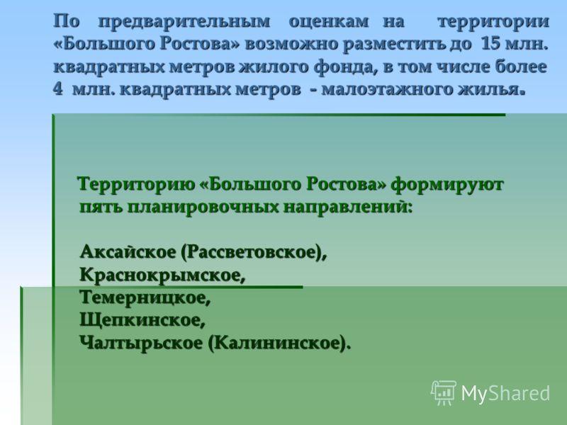 По предварительным оценкам на территории «Большого Ростова» возможно разместить до 15 млн. квадратных метров жилого фонда, в том числе более 4 млн. квадратных метров - малоэтажного жилья. Территорию «Большого Ростова» формируют пять планировочных нап