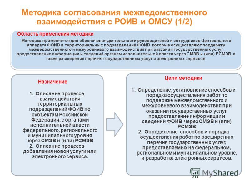 Методика применяется для обеспечения деятельности руководителей и сотрудников Центрального аппарата ФОИВ и территориальных подразделений ФОИВ, которые осуществляют поддержку межведомственного и межуровневого взаимодействия при оказании государственны
