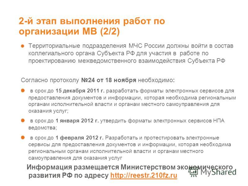 2-й этап выполнения работ по организации МВ (2/2) Территориальные подразделения МЧС России должны войти в состав коллегиального органа Субъекта РФ для участия в работе по проектированию межведомственного взаимодействия Субъекта РФ Согласно протоколу